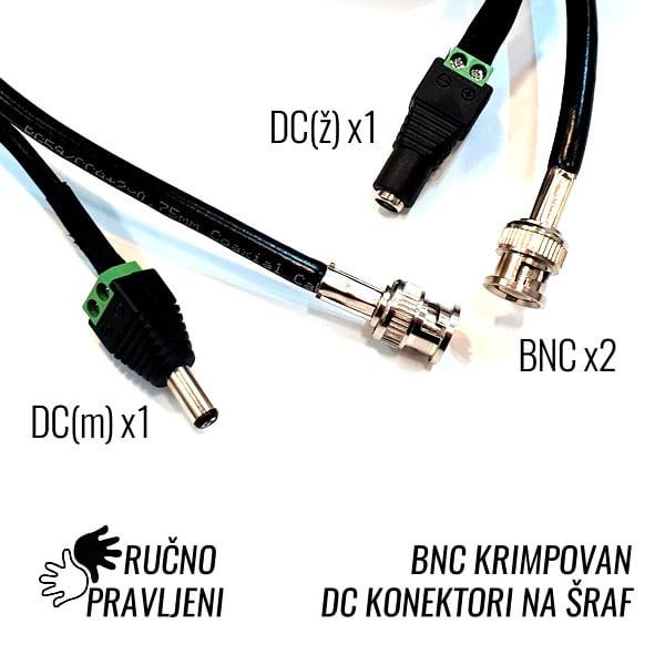Koaksijalni RG59+DC kabl sa konektorima 60m