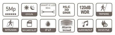 DAHUA-IPC-HFW2531T-AS-0360B-S2 specifikacija