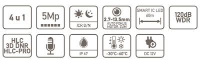 specifikacija HAC-HDW2501TMQ-Z-A